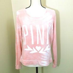 PINK Tie Dye Sweatshirt Oversized XS Coral